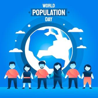 평면 세계 인구의 날 그림