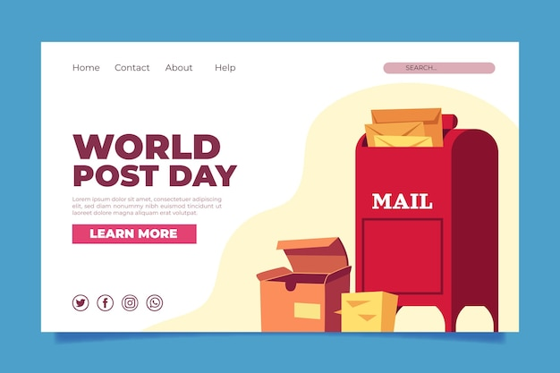 Flat world post day landing page template
