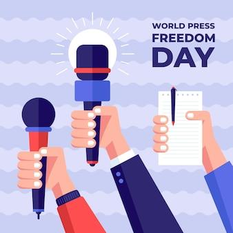 Flat world press freedom day illustration