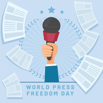 フラットな世界報道自由デーのイラスト