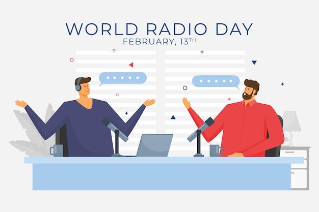 フラットな世界のラジオの日のイラスト