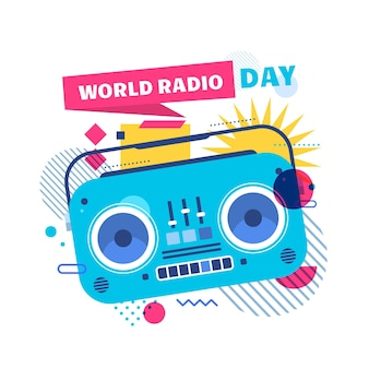 Flat world radio day illustration