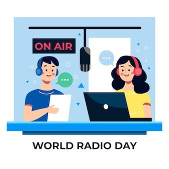 Flat world radio day illustration