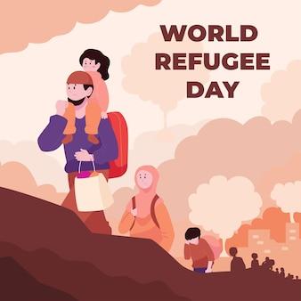 Flat world refugee day illustration