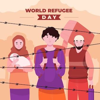 フラットな世界難民の日のイラスト