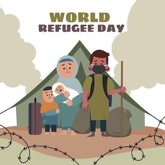평면 세계 난민의 날 그림