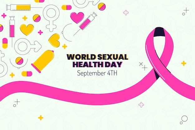Плоский всемирный день сексуального здоровья фон
