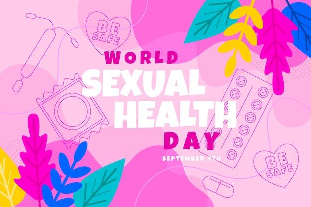 フラットな世界の性の健康の日の背景