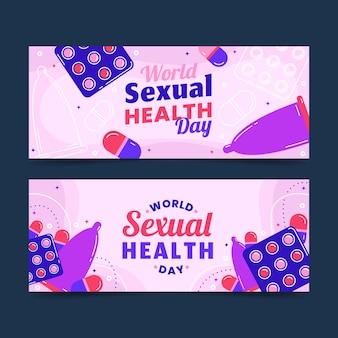 평평한 세계 성 건강의 날 배너 세트