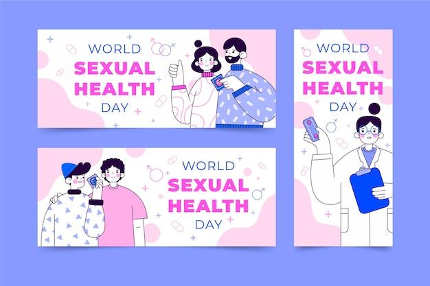 평면 세계 성 건강의 날 배너 세트