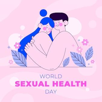 フラットな世界の性の健康の日のイラスト