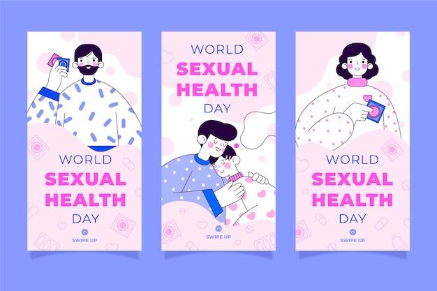 Плоский всемирный день сексуального здоровья коллекция историй instagram