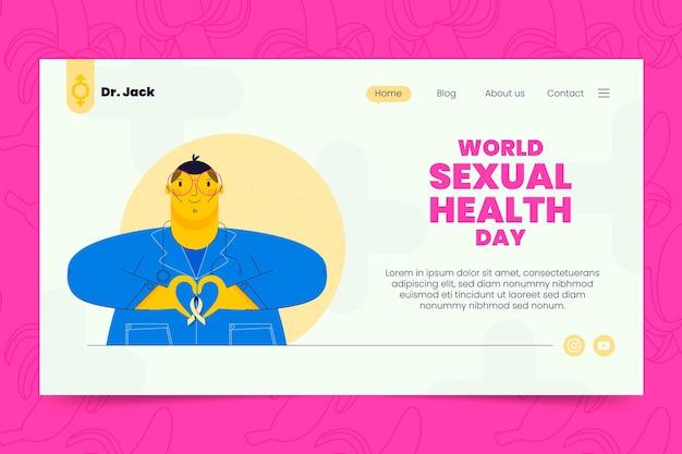 Плоский шаблон целевой страницы всемирного дня сексуального здоровья