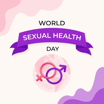 Flat world sexual health day representation
