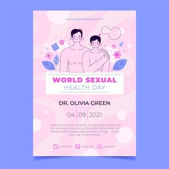 평면 세계 성 건강의 날 수직 전단지 템플릿
