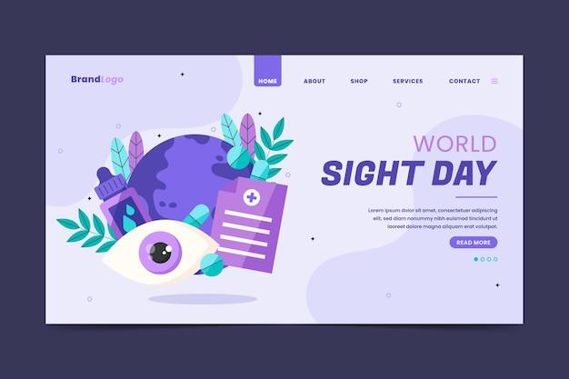 Modello di pagina di destinazione della giornata mondiale della vista piatta