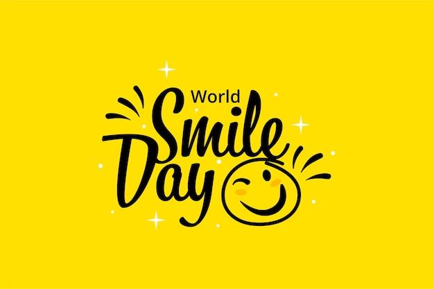 노란색에서 플랫 세계 미소의 날 배경 벽지. 이모티콘 얼굴