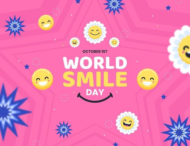 Flat world smile day background