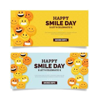 Flat world smile day horizontal banners set