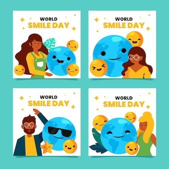 Flat world smile day instagram posts collection