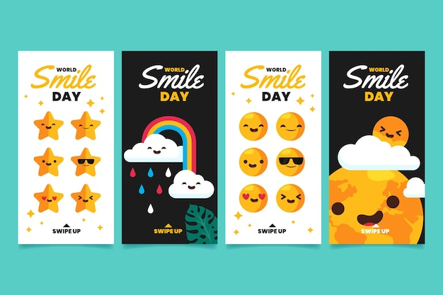 Flat world smile day instagram stories collection