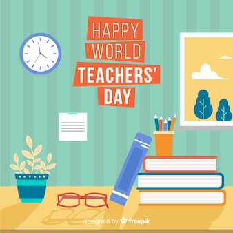 Flat world teacher's day background
