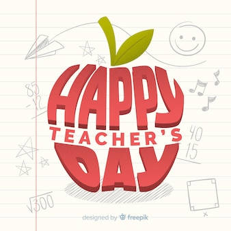 Flat world teacher's day background