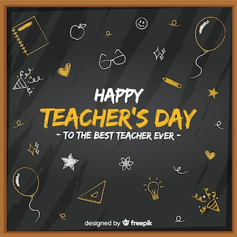 Flat world teachers' day chalkboard with cute drawings