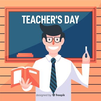 Flat world teachers' day with happy teacher