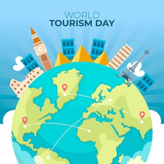 Flat world tourism day concept