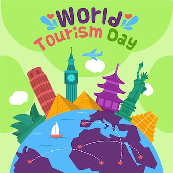 Concetto di giornata mondiale del turismo piatto