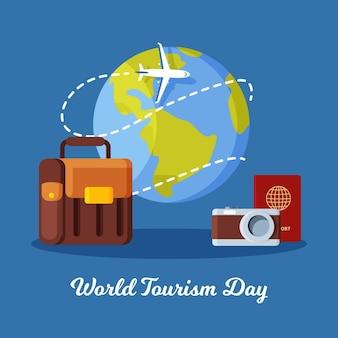 Плоский всемирный день туризма иллюстрация