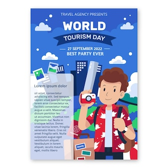 Flat world tourism day vertical poster template