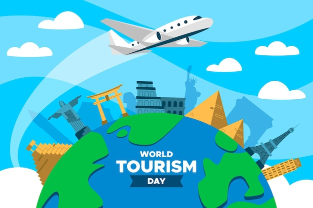 Flat world tourism day with airplane