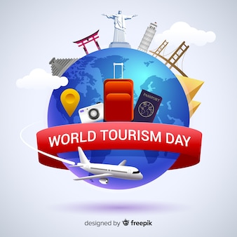 Flat world tourism day with landmarks and transport