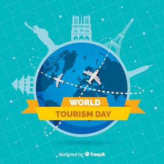 Flat world tourism day with plane routes