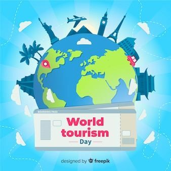 Flat world tourism day with tickets