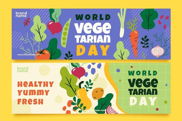 Flat world vegetarian day horizontal banners set