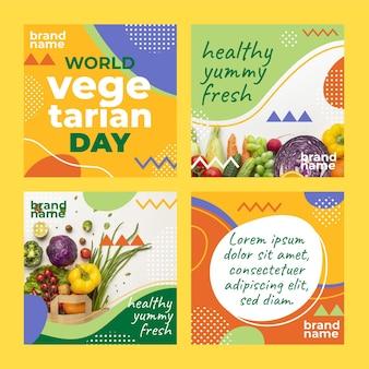 Коллекция постов в instagram с изображением плоского всемирного вегетарианского дня