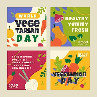 Flat world vegetarian day instagram posts collection