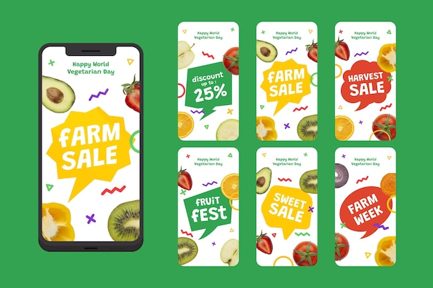 Flat world vegetarian day instagram stories collection with photo