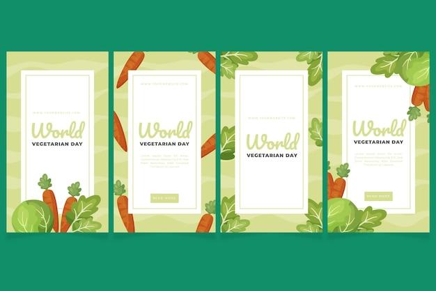 Flat world vegetarian day instagram stories collection