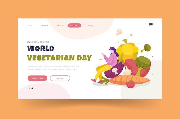 Шаблон целевой страницы плоского всемирного вегетарианского дня