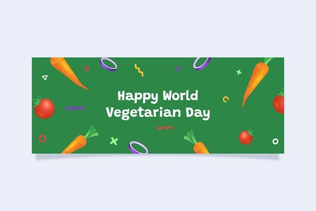 Flat world vegetarian day social media cover template