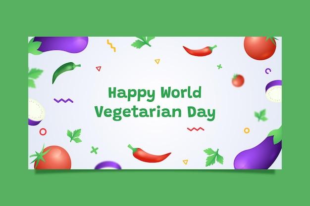 Flat world vegetarian day social media post template