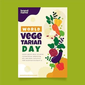 Плоский всемирный вегетарианский день вертикальный плакат шаблон