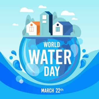 平らな世界水の日のイラスト