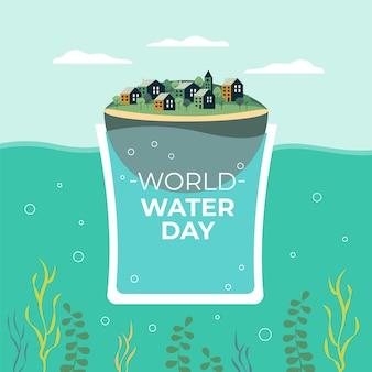 평평한 세계 물의 날 그림