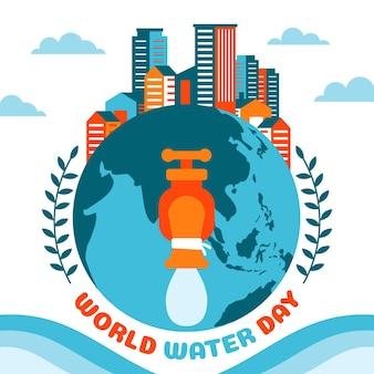 Плоский всемирный день воды иллюстрация