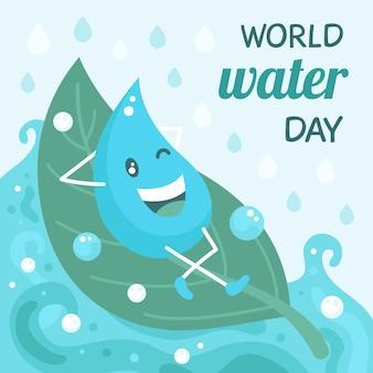 フラットな世界水の日のイラスト